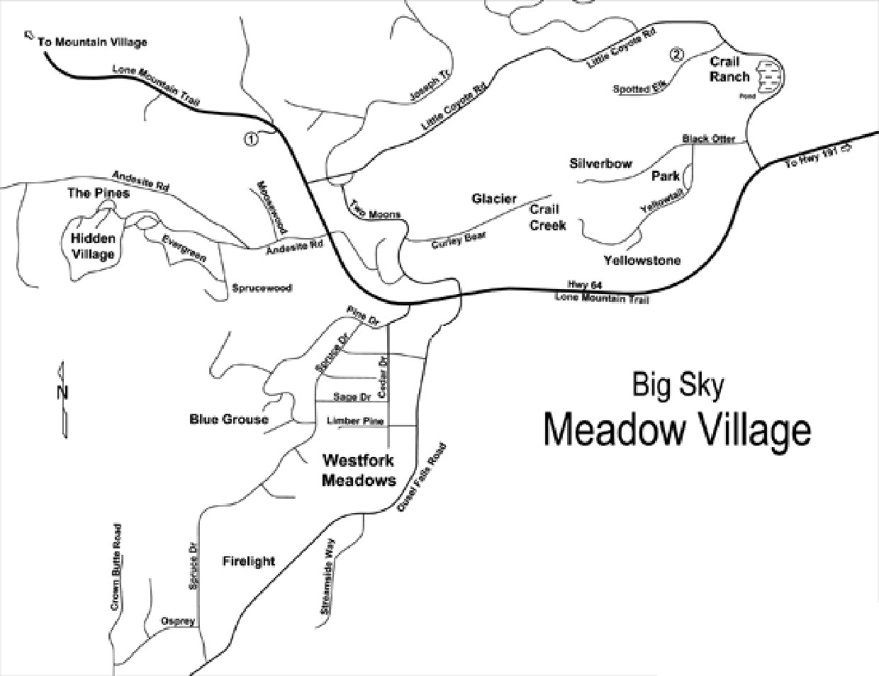 Big Sky Meadow Village Map